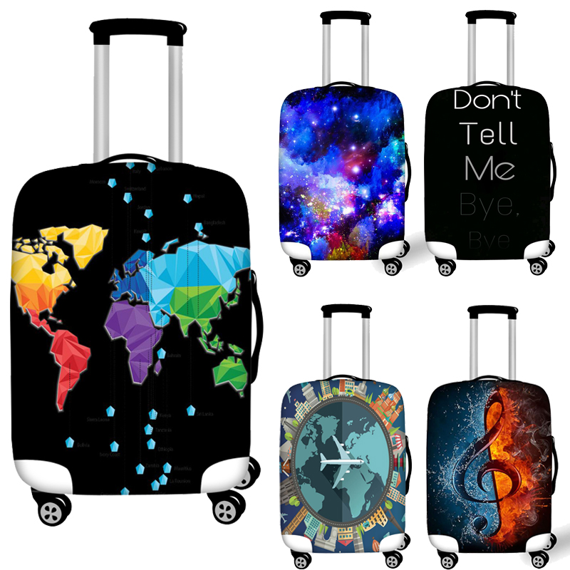 3D Map Galaxy Airplane Print Elastic Luggage Protective Cover Suit For 18-32Inch Trolley Suitcase Case Covers Travel Accessories