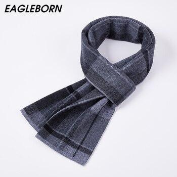 2020 nueva moda de invierno bufanda a rayas a cuadros de alta calidad 100% de lana Casual hombre de negocios bufanda de regalo de esposo padre a juego gris oscuro