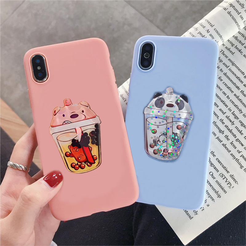 3D Cute Drink Cup Funny Liquid Quicksand Soft TPU Phone Case For IPhone 11 Pro MAX XS MAX XR X 8 7 6S Plus Silicone Candy Cover
