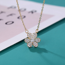 JIAN Flower Pendant Necklace for Women Choker Bling Rhinestone Steel Chain Collar Gold Color Fashion Jewelry Girls Gift jian natural green pendant necklace choker women fashion jewelry birthday gift for girlfriend vintage chain collares