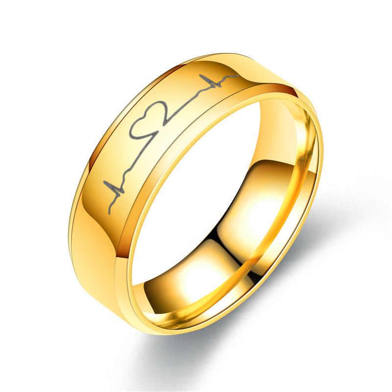 2019 Золотой Титан Сталь кольца для Для женщин ЭКГ Покрытие Серебряное кольцо Мужские, обручальные кольца для Для женщин ювелирные изделия обручальное кольцо