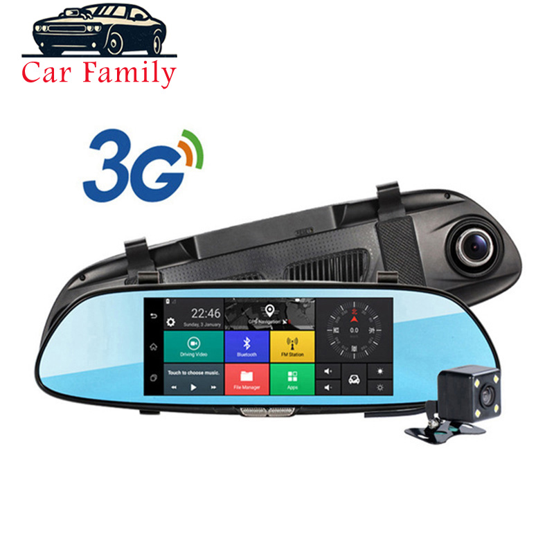 Dashcam Built-<font><b>in</b></font> WiFi <font><b>GPS</b></font> Bluetooth FM Function <font><b>Car</b></font> <font><b>DVR</b></font> Android 5.0 3G 7 Inch Rearview Mirror Camera Dual Lens <font><b>Car</b></font> Registrator image
