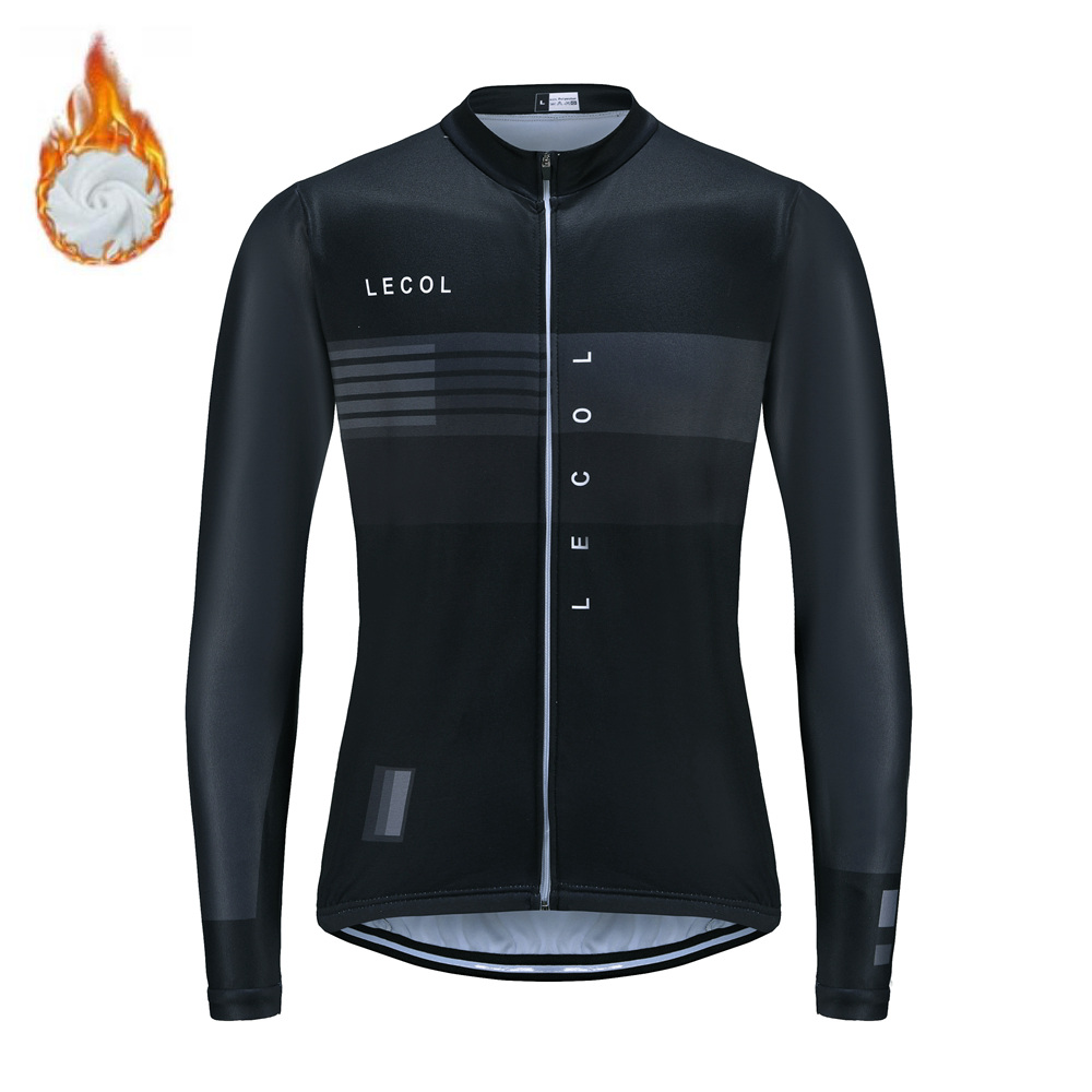 LECOL 2020 Cycling Jersey Winter Thermal Fleece Men Long Sleeve Pro MTB Triathlon Clothing Ropa Ciclismo Maillot Warm Bike Tops