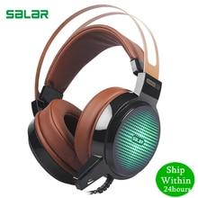 Salar C13 게임용 헤드셋 딥베이스 게임용 헤드셋 컴퓨터 헤드폰 이어폰 (pc LED 라이트 용 마이크 포함)