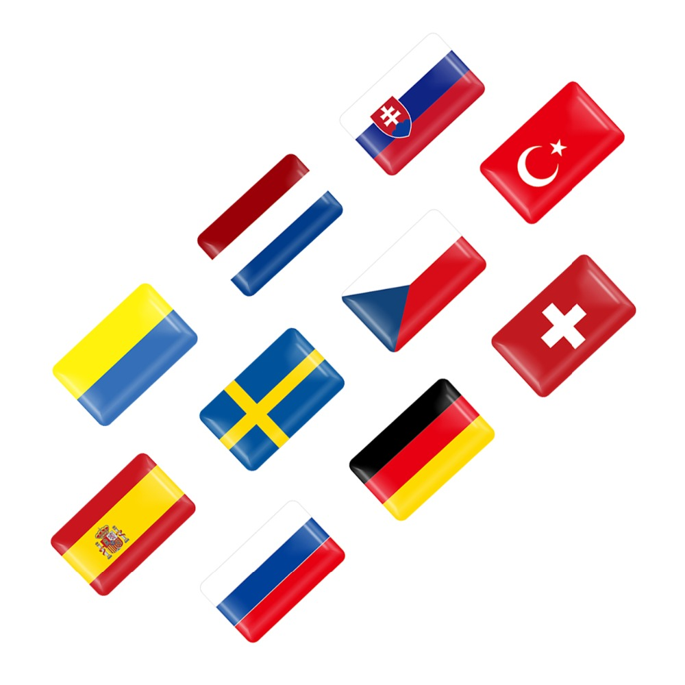 10PCS UK ITALY FRANCE GERMAN Russia JAPAN National Flags SLINE SPORT Car Stickers Automobiles Motorcycles Decorating Accessories
