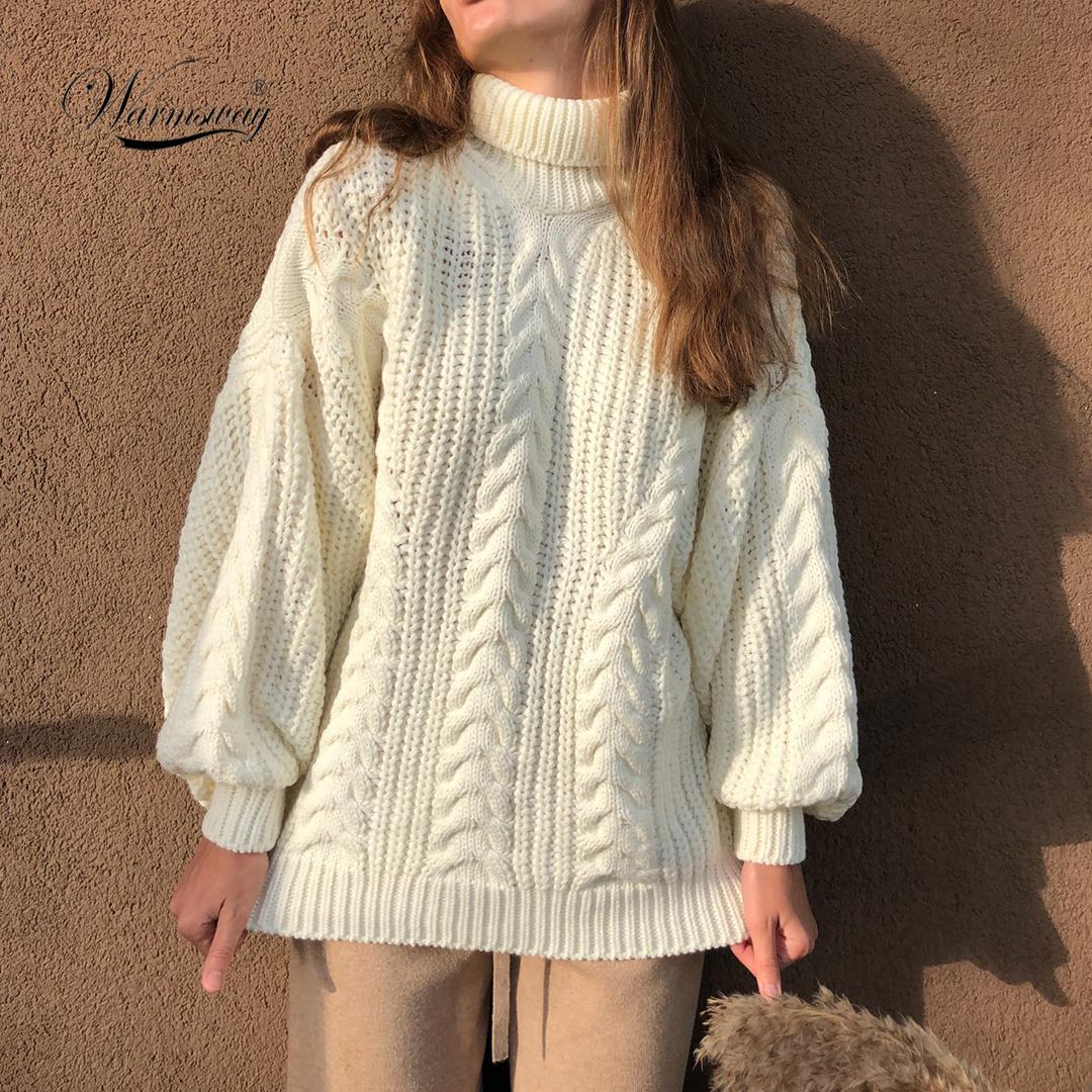 Women Turtleneck Sweaters High Quality Autumn Winter 2021 Pull Jumpers European Twist Lantern Sleeve Oversized Sweater C 281