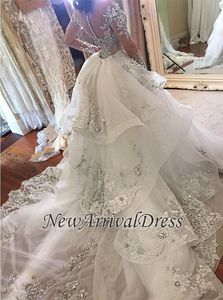 Image 2 - Hot Sale Beaded Appliques Wedding Dress Long Sleeves Glamorous High Neck Mermaid Wedding Gown with Detachable Tulle Train