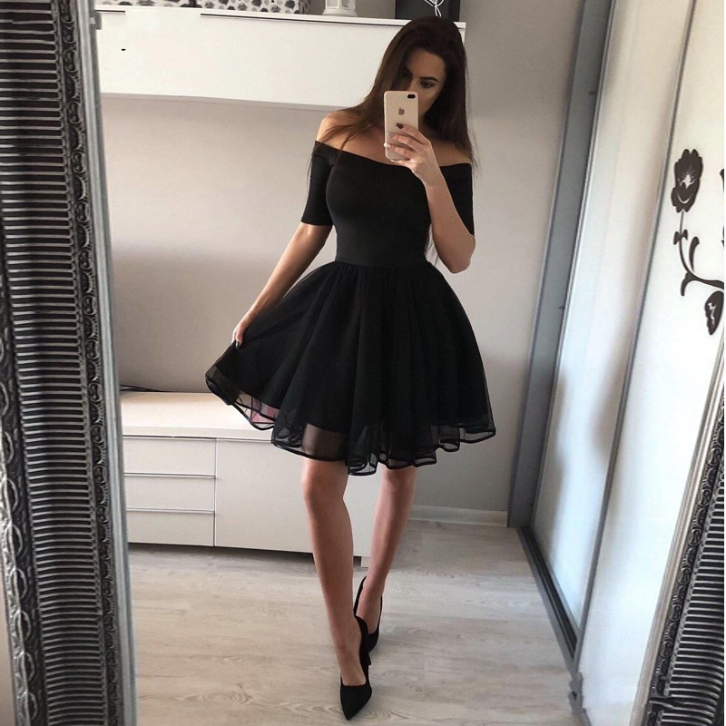 Hot A Line Black Homecoming Dresses Off The Shoulder Half Sleeve Graduation Homecoming Gown Chic Little Black Dress YSAN217