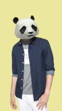 3d Бумажная Маска модный костюм панды косплей diy бумажная фотобумага