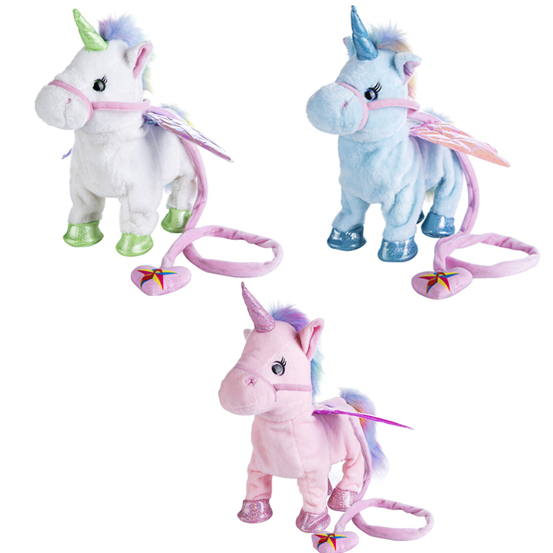 Electric Walking Unicorn Plush Toy Stuffed Animal Toy Electronic Music Unicorn Toy for Children Christmas Gifts 35cm Outdoor Tools     - title=