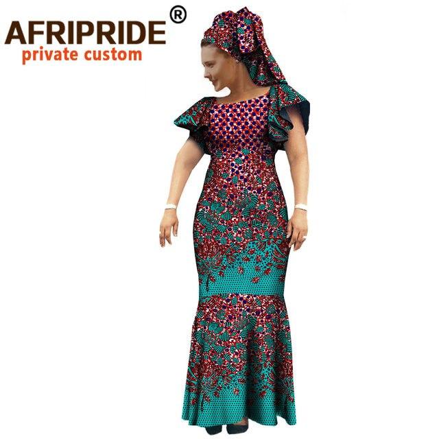 African Ankara Church Bandana Dresses for Women Tailor Made Short Sleeves Ankle Length Women Cotton Dress with Head wrap A722552