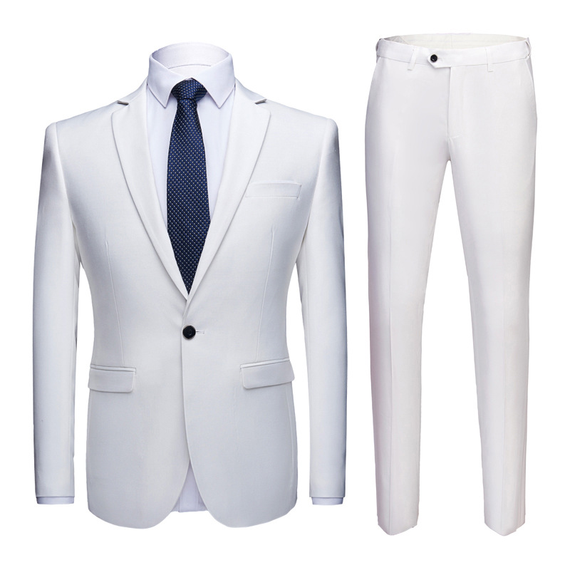 Men's White 2 Pcs Suits With Pants Elegant Slim Fit One Button Wedding Groom Suit Men Formal Business Suit Male Terno Masculino