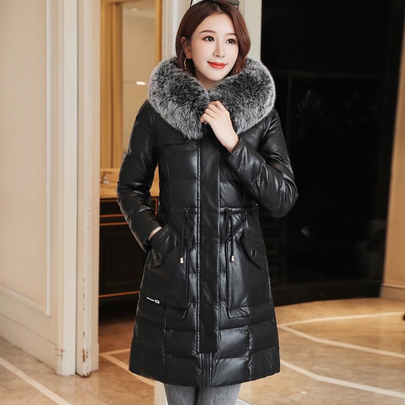 Winter   Coat   Women Korean Fashion Woman PU Leather   Down   Jacket Plus Size XXXL Korean Fur   Down   Jacket Woman Hooded   Coat   Women Hat