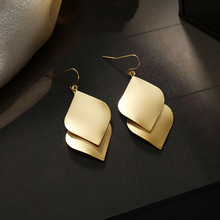 European and American metallic geometric elements long pattern gold earrings and ear clips for women are simple and fashionable