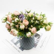 Букет искусственных роз 1 бутонов букет шелковых цветов аксессуары