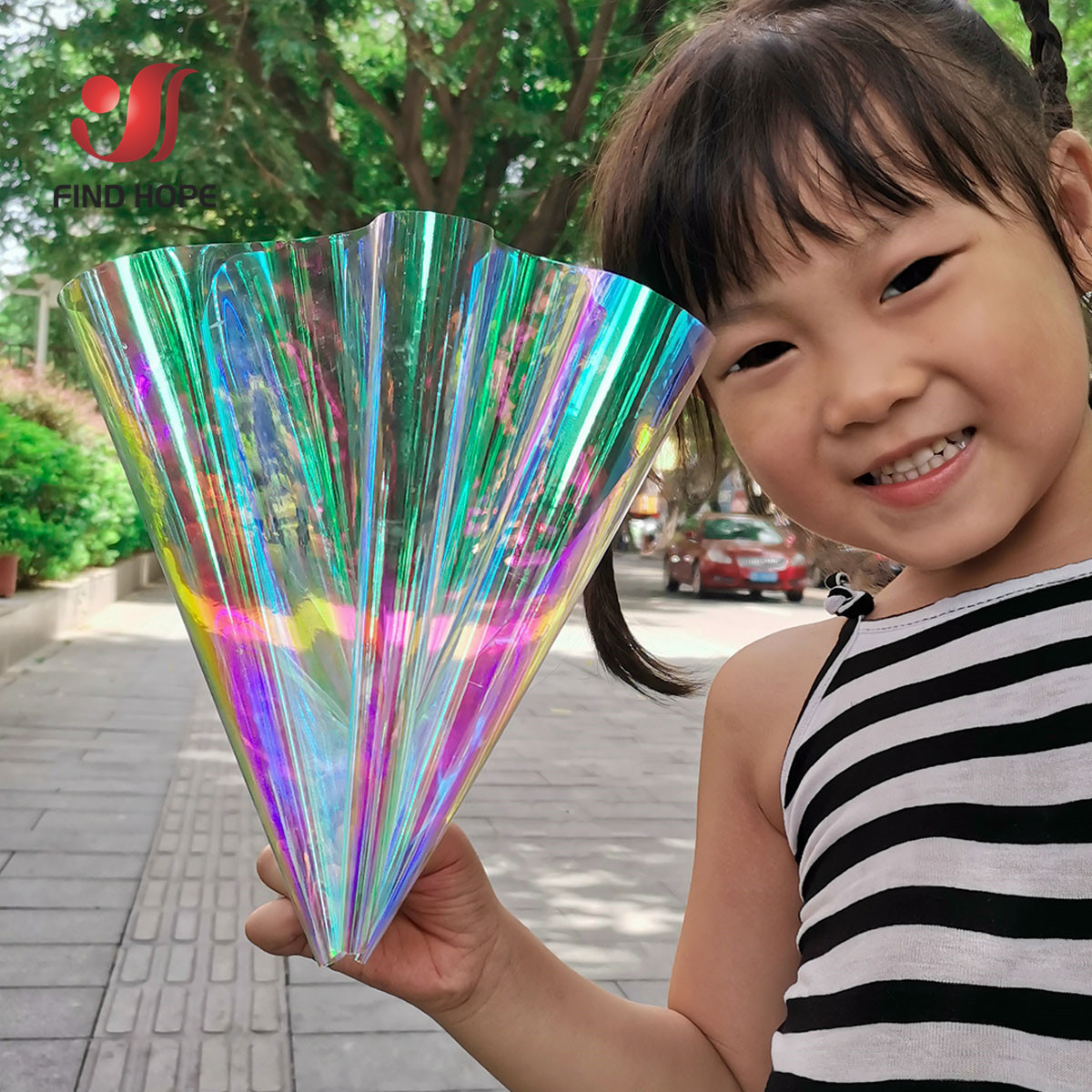 Laser Iridescent Holographic Film Clear Transparent PVC Fabric Leather   Rainbow Film Shiny Vinyl Material DIY Bow Craft Bag