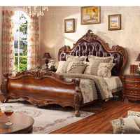 Real leather bed solid wood 1.8M king size bed WA625