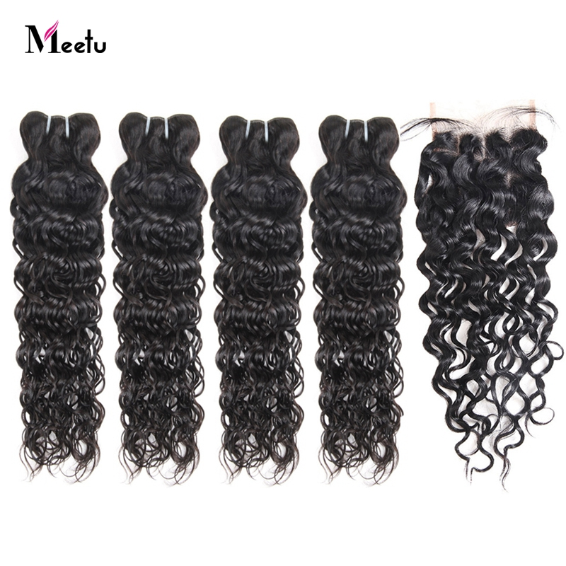 Meetu Malaysian Water Wave Bundles With Closure 100% Human Hair Bundles With Closure Baby Hair 4 Bundles With Closure Non Remy