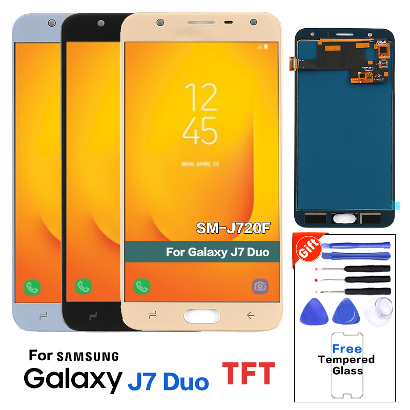 For Samsung Galaxy J7 Duo <font><b>J720</b></font> <font><b>LCD</b></font> J720F SM-J720F <font><b>LCD</b></font> Display with Touch Screen Digitizer Assembly with brightness Adjust image