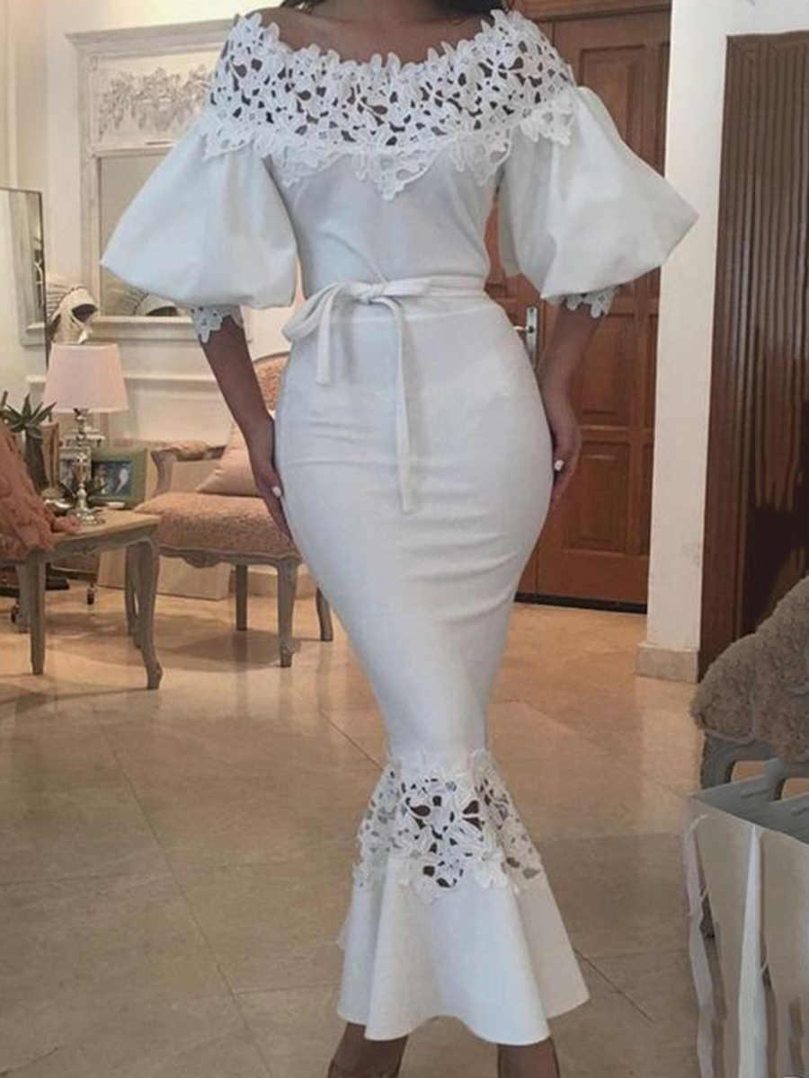 Kinikiss/длинное летнее платье 2018, белое платье-карандаш с открытыми плечами, элегантное сексуальное винтажное платье на шнуровке с рукавами-фонариками, вечерние платья