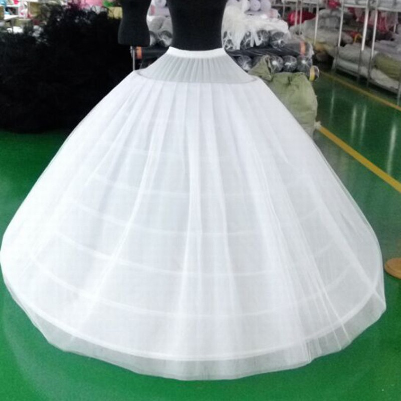 Adult Women's Skirt Ball Gown Petticoat Crinoline Birdcage Cosplay Underskirt Tutu 2 Layers Tulle And 6 Hoop Skirt For Wedding