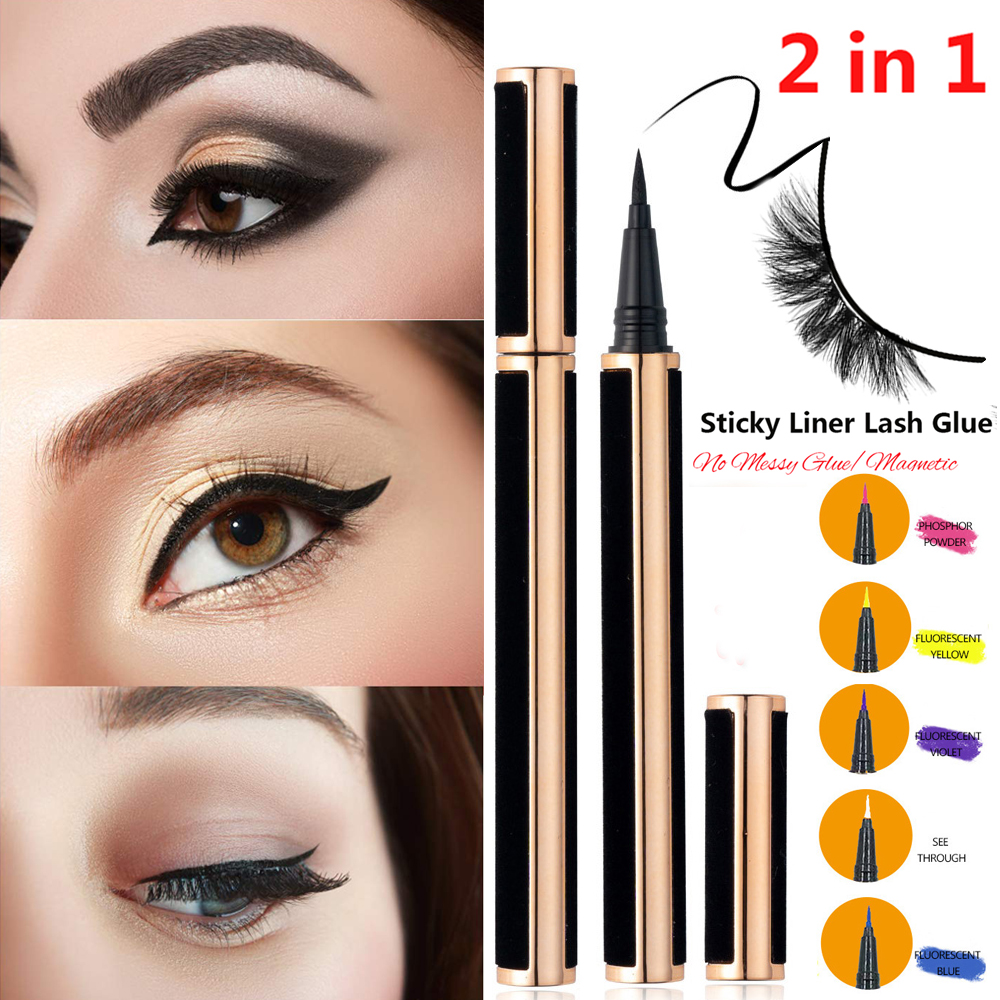 Hot 2in1 Upgraded Self-adhesive Eyeliner Pen Diamond Bling Glitter Liquid No Glue Non Magnetic for Makeup and Wear False Eyelash