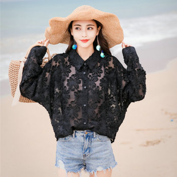 Fashion Women Black Lace Shirts Long Sleeve Drop Shoulder Turn Down Collar Thin Oversize Top Spring Summer Casual Shirt Girls lace applique lantern sleeve cold shoulder top