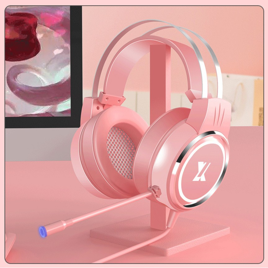 Pink USB Wired Earphone Headset PC Gamer Stereo Headphone Flexible Adjustable Mic Headset for