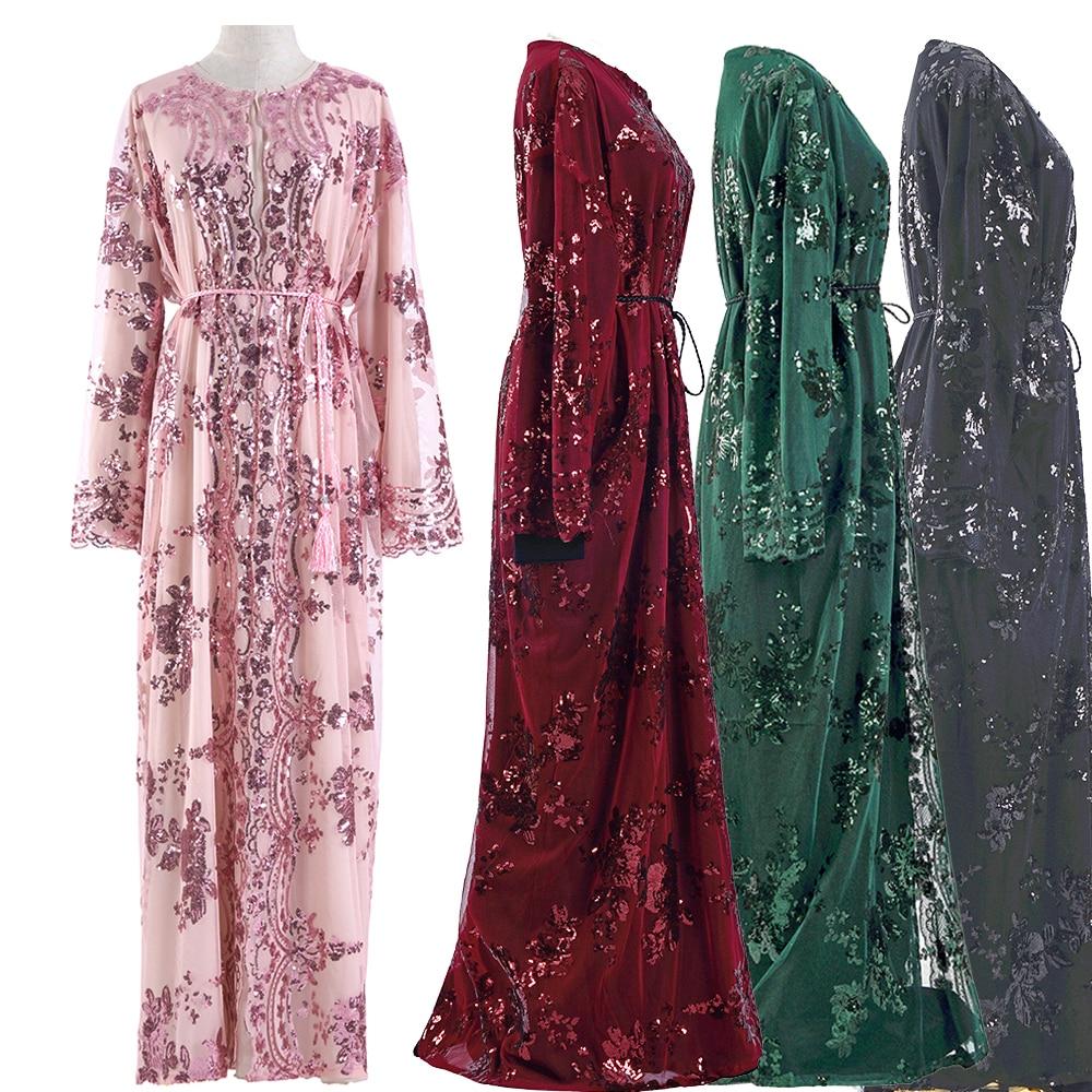Sequin Arabic Abaya Kimono Cardigan Muslim Hijab Dress Women Turkish Islam Ramadan Eid Mubarak Niqab Saudi Arabia Dubai Kaftan