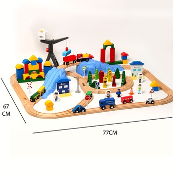 123pcs small train track car building block track train toy set compatible with wooden small train track children train game фото