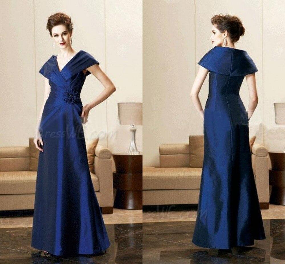 2015 Hot Sale Elegant A-Line V-Neck Cap Sleeveless Flower Zipper-Up Floor Length Long Mother Of The Bride Dresses F333