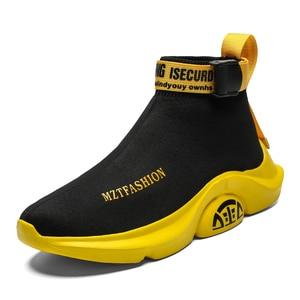 Image 4 - אופנה גבוהה למעלה מזדמנים גרב נעלי גברים לנשימה דירות גברים מקרית להחליק על פלטפורמת נעלי גברים הליכה הנעלה סל homme