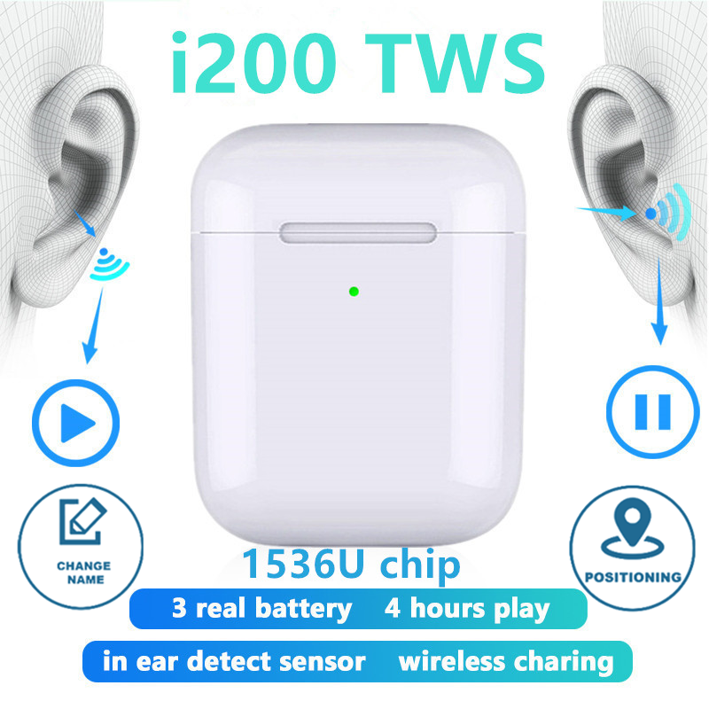 Original i200 TWS Wireless Headphones 1:1 copy Bluetooth Earphone charging Earbuds Headset For iPhone PK i500 i100 i9000 i10 TWS image