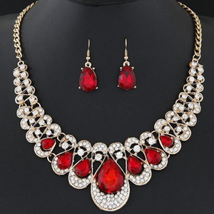Iced Out water drop Red Blue Gem Crystal Bling Jewelry sets For Women Pendant Necklace Earring Set Cuban long Sweater Chain(China)