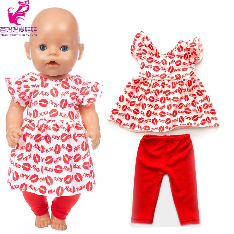 17inch New Born Baby Doll Clothes Trousers Red Lips For 43cm Baby Doll Dress 18 Inch American Generation Girl Doll Clothes Shirt