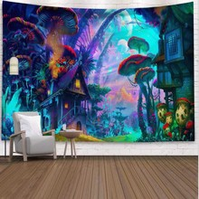 WOSTAR Forest Tapestry Wall Hanging Red Mushroom Decorative Wall Tapestries Art Wall Carpet Home Decor Boho Hippie Tapestry цена 2017