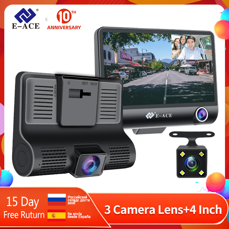 E-ACE <font><b>Car</b></font> <font><b>Dvr</b></font> 3 <font><b>Camera</b></font> Lens 4.0 <font><b>Inch</b></font> Video Recorder Dash Cam Auto Registrator Dual Lens With Rear View <font><b>Camera</b></font> DVRS Camcorder image