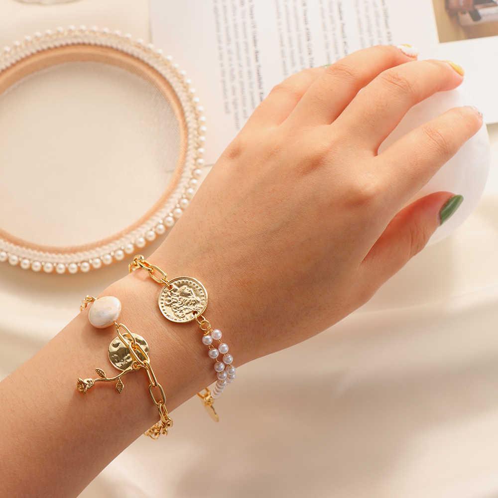 Brazalete Irregular barroco de moda Chic perlas de imitación oro Metal eslabones de cadena pulseras para mujer chica joyería de fiesta de verano