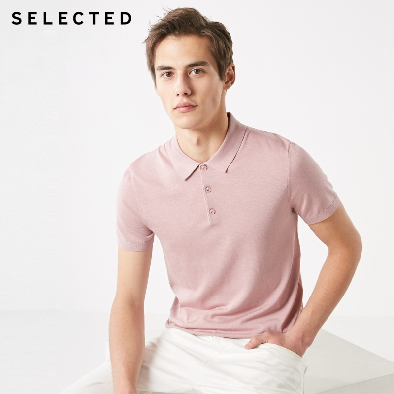 SELECTED Silk Floss Short-sleeved Turn-down Collar Poloshirt S|419106511