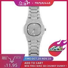 Часы TOPGRILLZ с бриллиантами, брендовые кварцевые золотистые в стиле хип хоп, с микрополем, из нержавеющей стали с кубическим цирконием