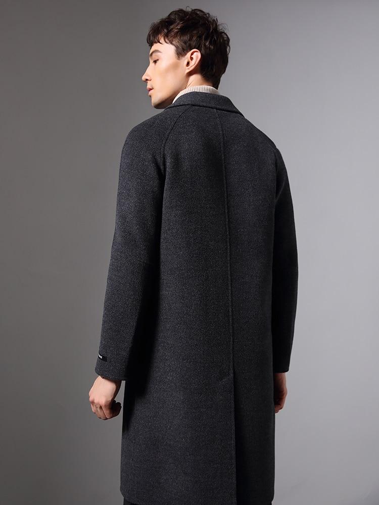 Handmade 100% Wool Coat Men Double-sided Long Jacket Men Autumn Overcoat Mens Coats And Jackets Abrigo Hombre KJ1575