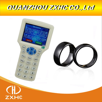 English Language RFID Reader Writer Copier Duplicator 10 Frequency With USB Cable For 125Khz 13.56Mhz Cards LCD Screen+rfid ring