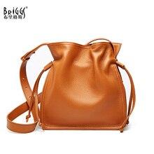 BRIGGS Small Bucket Bag Genuine Cow Leather Wide Strap Ladies Shoulder Luxury Handbags Women Bags Designer sac a main femme