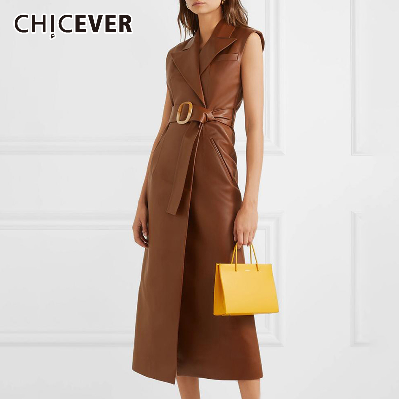 CHICEVER A Line Leather Dresses For Women Lapel Sleeveless Off Shoulder High Waist With Sashes Dress Female Fashion New Clothes