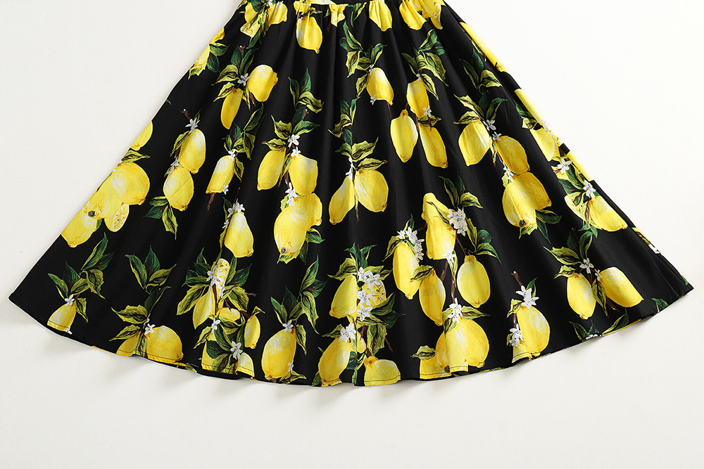 Plus Size 4XL Lemon Print Summer Vintage Dress Sleeveless Cotton Women Pin Up Retro Dress Elegant Party Vestidos Office Dresses