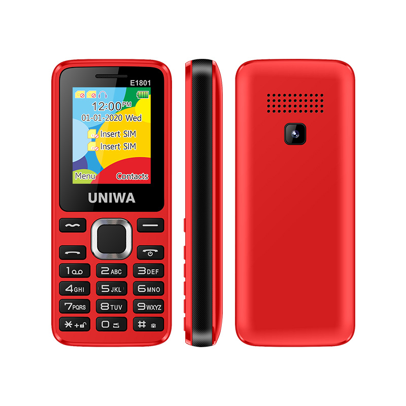 For Elder 2G GSM Bar Feature Mobile Phone Dual SIM CellPhone Wireless FM Radio Support TF Expansion Vibrator UNIWA E1801