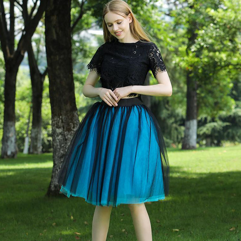 New Puffty Layered TUTU Tulle Skirts Womens High Waist Midi Knee Length Chiffon Skirt Jupe Female Tutu Skirts Faldas Saia(China)