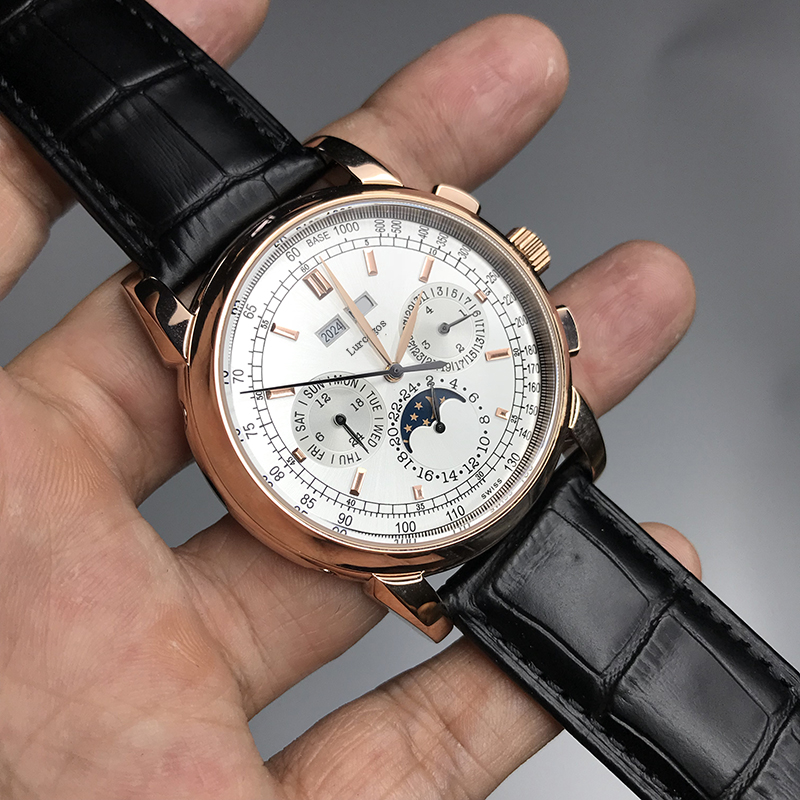 Luxury Brand Watch PP Men White Dial Glide Sooth Second Hand Sapphire Glass Leather Strap Small Dial Works Watches AAA+
