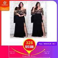 Rosegal plus size rendas apliques até o chão vestido feminino elegante fora do ombro 3/4 mangas a linha vestido vestidos de festa