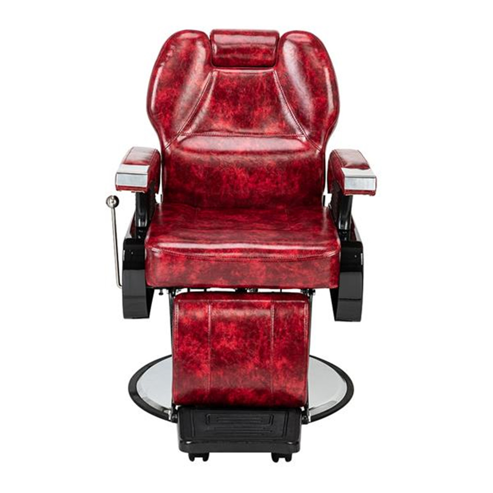 High Quality Classic Hydraulic Recline Hair Salon Iron Leather Sponge Barber  Wine Red Adjustable Back Comfortable Seat